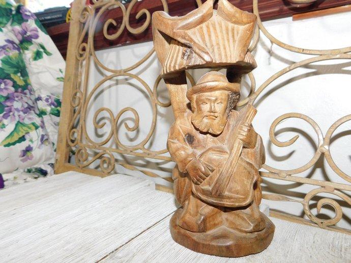 Carved Wood Guitar Player, Vintage Guitar Play,Vintage Wood Art, Vintage Home
