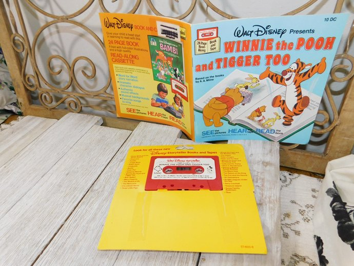 Winnie The Pooh and Tiger Too Read Along Book and Tape Set, Vintage book and