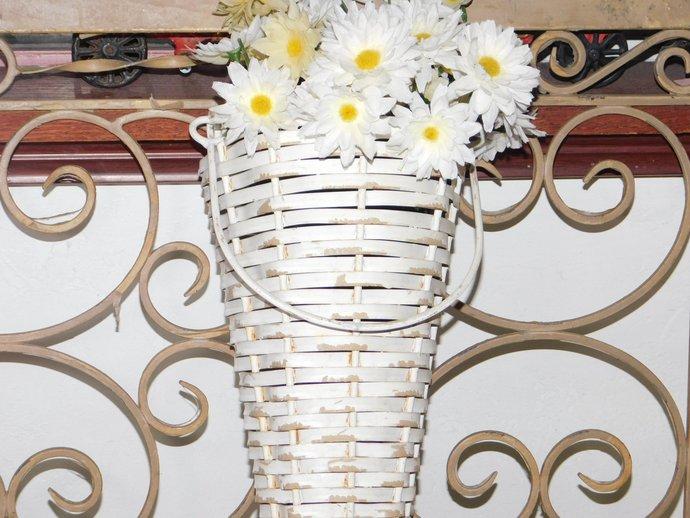 Metal  Wicker Hanging Flower Basket, Cone Shaped, Shabby Cottage Decor, Vintage