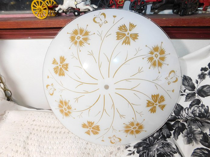 Vintage Lamp Shade, Vintage Round Gold Flowers, Butterflies, Lamp Shade Ceiling,