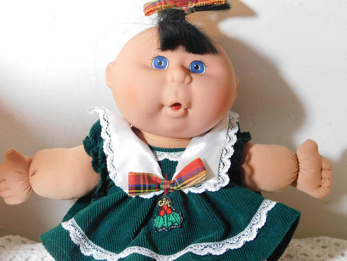 Cabbage Patch Doll in Green Dress Plaid Bows, 1995 Cabbage Patch Doll, Dark Hair