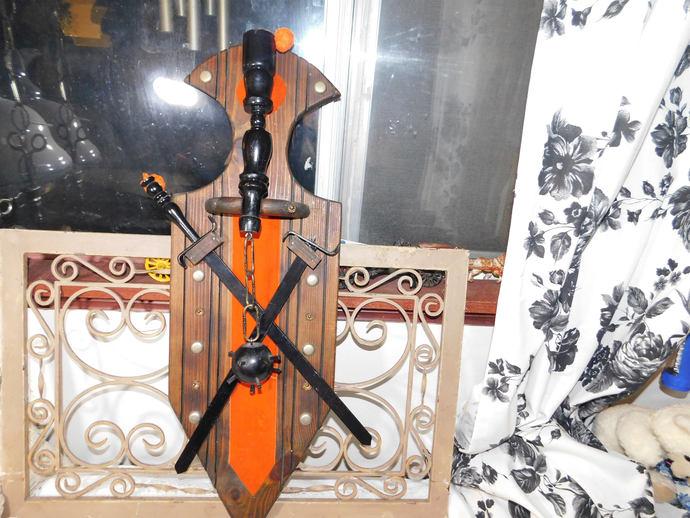 Sword Armor Ball and Chain Wall Decor, Mid Evil Decor, Gothic Decor, Vintage