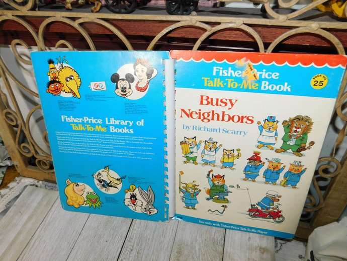 Fisher Price Talk to Me Book Its the Busy Neighbors  # 25 1970, Talk To Me