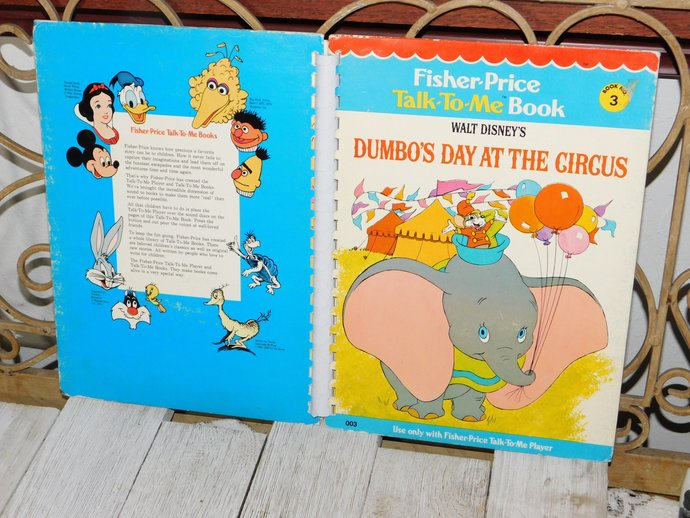 Fisher Price Talk to Me Book Its Dumbos Day At The Circus,  # 3 1970, Talk To Me