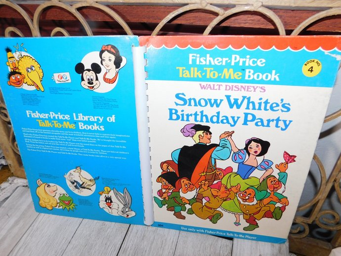 Fisher Price Talk to Me Book Its the Snow White Birthday Party # 4 1970, Talk To