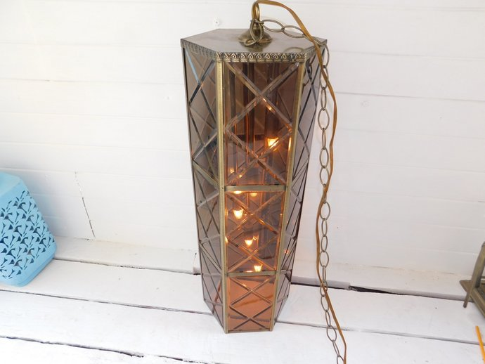 Vintage Swag Light, Entry Way Light, Mid Century Swag Hanging Light, 70s Home