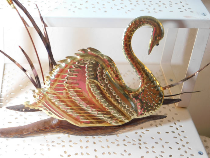 Swan Brass Wall Art, Swan, Brass Swan, Vintage Home Decor, Brass Decor, Country