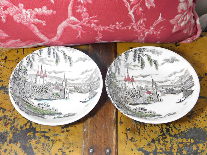 La Ville Small Plate bowls, Small bowl, Castle and Sail Boat bowl, Vintage