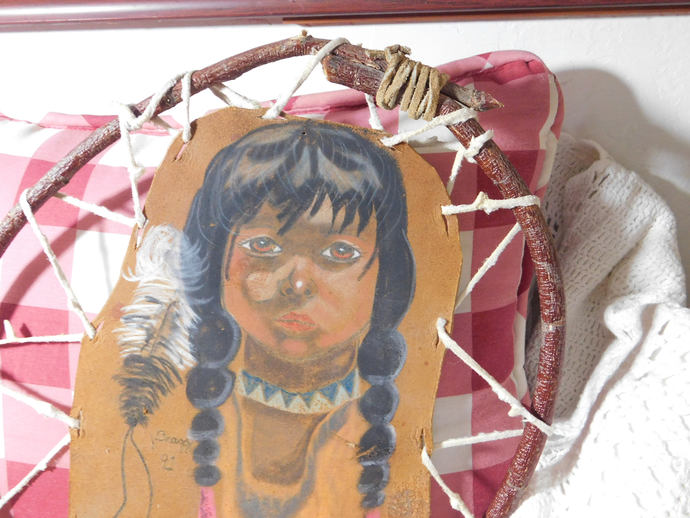 Indian  wall Hanging, Indian Art, Leather Art, Indian Girl, Indian Child, Indian