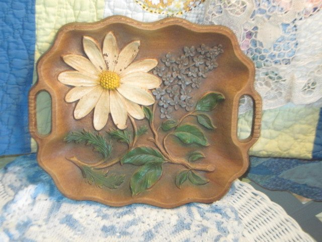 Tray, Vintage Tray, Embossed Flowered Tray, Multi Product Inc USA ,Country