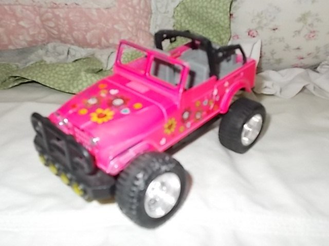 Pink Flowered Jeep, Lift up Hood Jeep, Small Metal Jeep, Vintage Toy Jeep, Toy