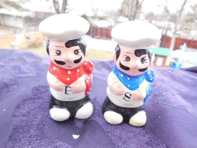 Two Mr Cook Salt and Pepper Shakers , Salt and Pepper Shakers, Vintage Kitchen,