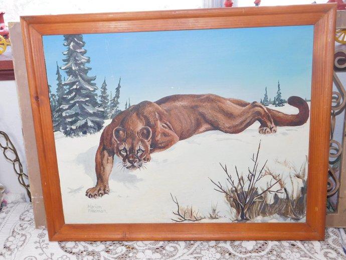 Vintage Painting, Vintage Cougar Painting, 3-17-59, Cougar, Real Looking