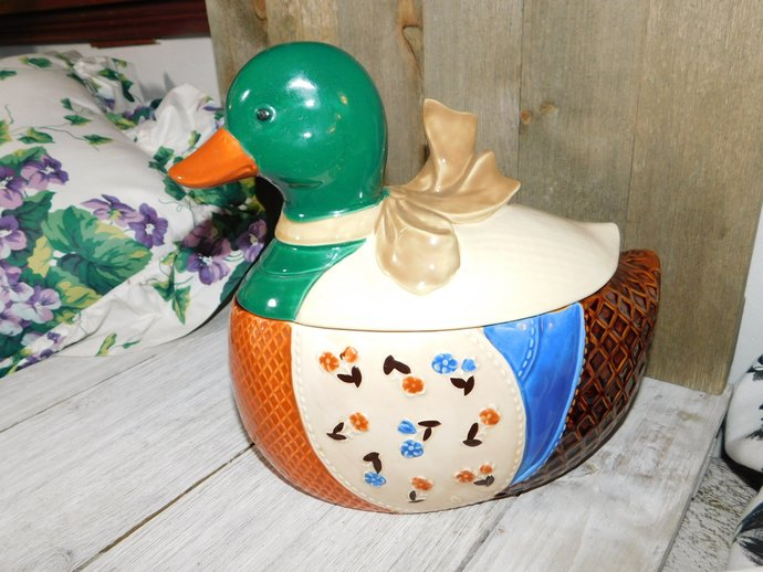 Duck, Cookie Jar, Duck Canister, Canister, Quilt Style Duck Cookie JAR B&D,