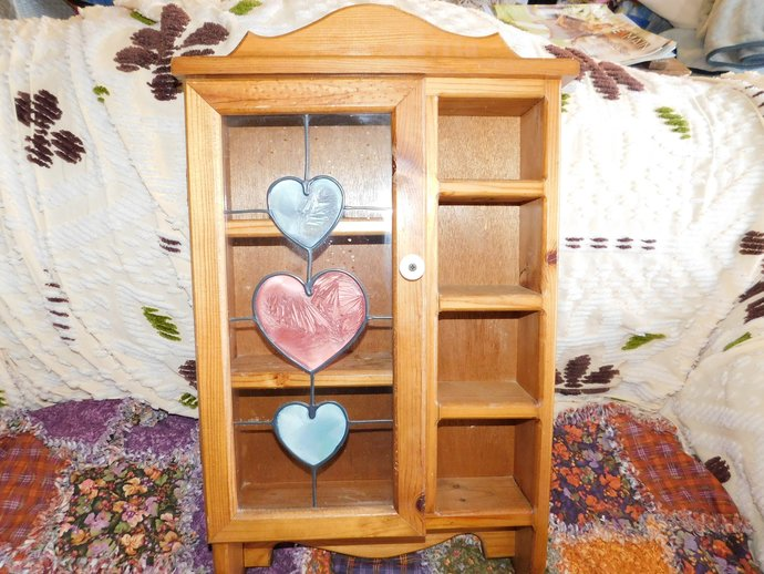 Curio Cabinet, Stained Glass Look Cabinet, Display Cabinet, Tea Cuo Cabinet,