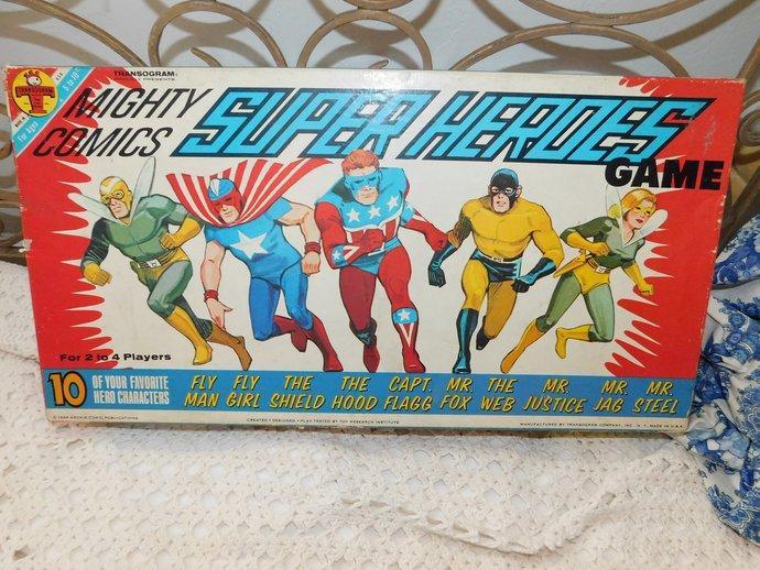 Mighty Comics Super Heros Board Game 1966, Vintage Comics, Vintage Board Game,