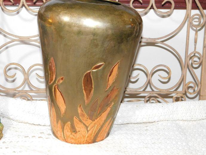 Brass Vase with Leaves Or Flames, Big Brass Vase, Vintage Brass Vase, Vintage