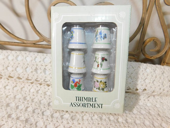 Thimbles Collectible, Set of Glass Thimbles, Thimbles, Sewing Collectibles,