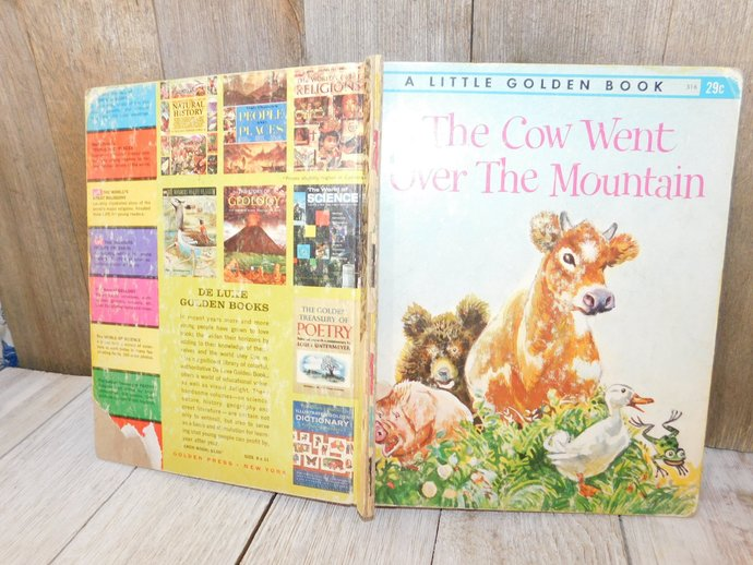 The Cow Went Over The Mountain Golden Book 1963, Vintage Golden Book, Vintage