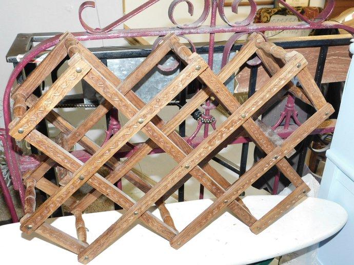 Embossed Wine Rack Wood, Ornate, Towels Rack, Kitchen Storage, Country Decor,