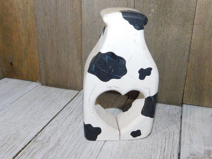Wooden Milk Bottle with Cow Spots, Wooden Milk Bottle with Heart, Country Milk