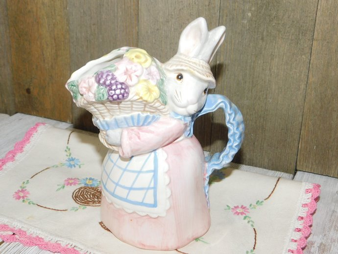 Fitz and Floyd Rabbit Creamer Pitcher, Vintage Childs Sz Bunny Rabbit Creamer,