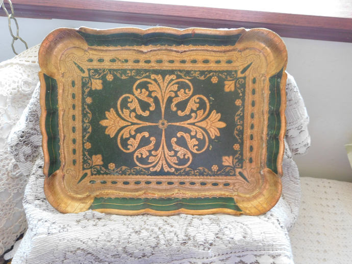 Tray Ren30 Carli, Florence Italy, Gold and Green Tray, Vintage Tray, Vintge Home