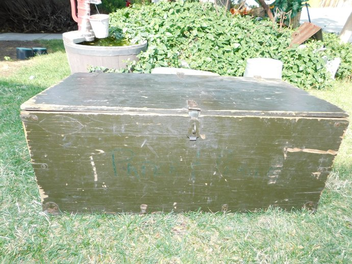 Military Wooden Foot Locker, Military Wooden Trunk , Army Foot Locker, Army