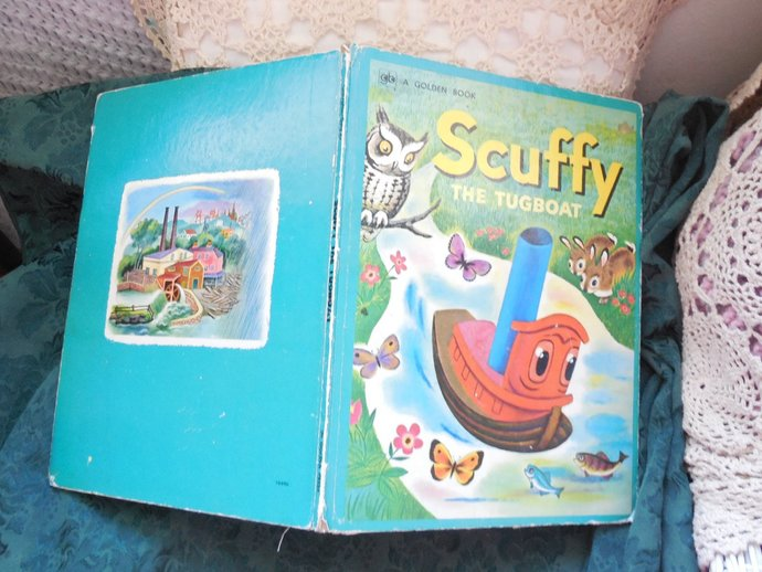 Giant Scuffy the Tug Boat Golden Book 1974, Vintage Children book, Antique