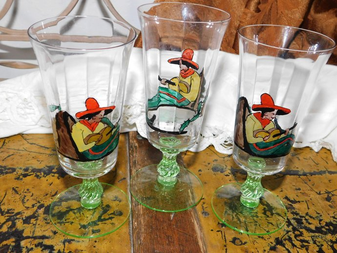 Mexican Guitar Player Barware Glasses set of 3, Small Barware Glasses, Tequila