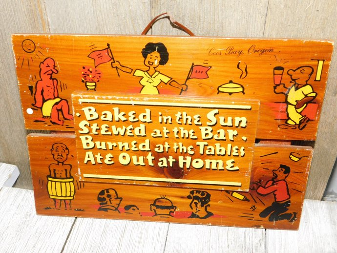 Vintage Wall Decor Baked in the Sun, 70s wall Decor, Vintage Saying wall decor,