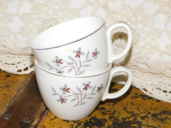Pretty Set of Two Cups with Grey Flowers and Brown leaves Pottery, Vintage Cups,