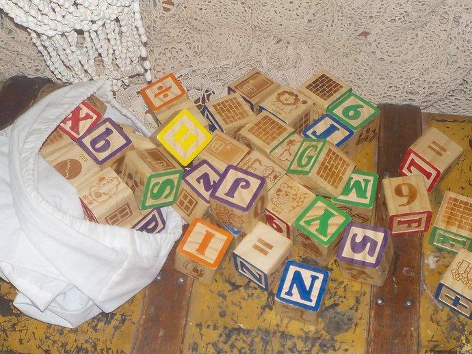 Vintage Bag of Brick Letter Pictured Blocks 49 Blocks all Together, Vintage