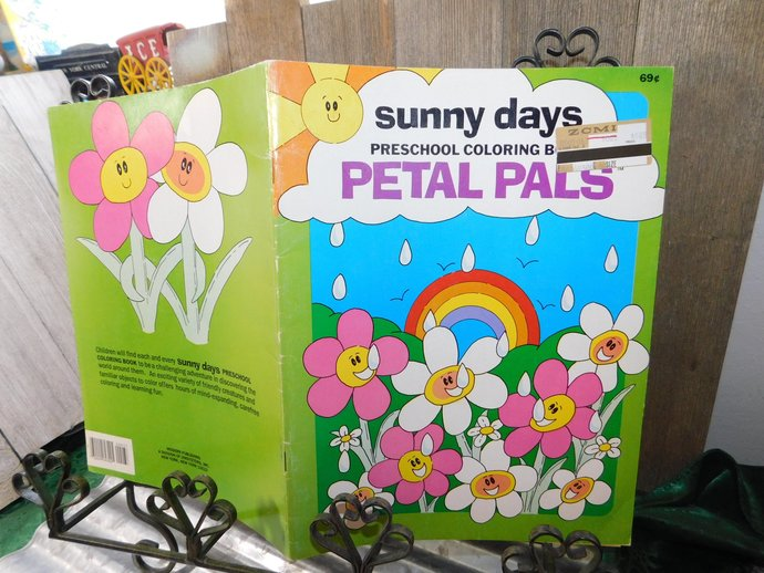 Sunny Days Petal Pals Preschool Coloring Book, Vintage Coloring Book, Vintage