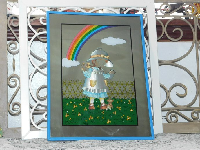 Mirror with little girl, kitten and Rainbow Mirror, 1970 Mirrors, Rainbow, Girls