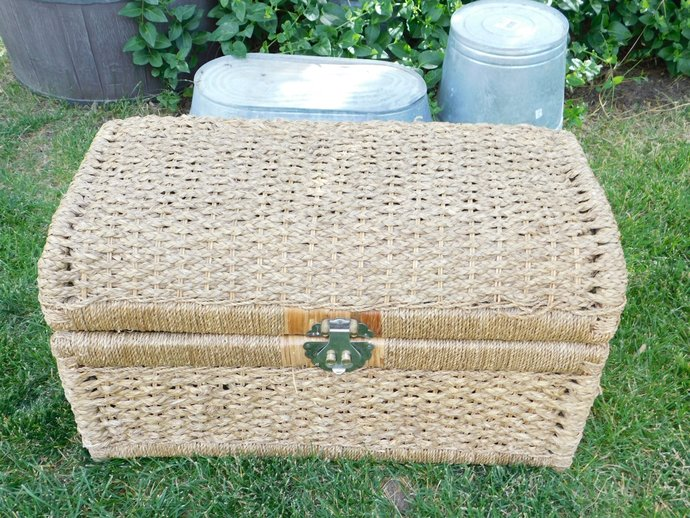 Trunk, Rattan Wicker Trunk, Chest, Rattan Wicker Chest,  Vintage Home Decor,