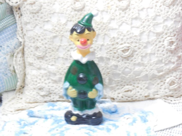 Clown Bank, Vintage Plastic Clown Bank Hong Kong 9 1/2 in tall with stopper,
