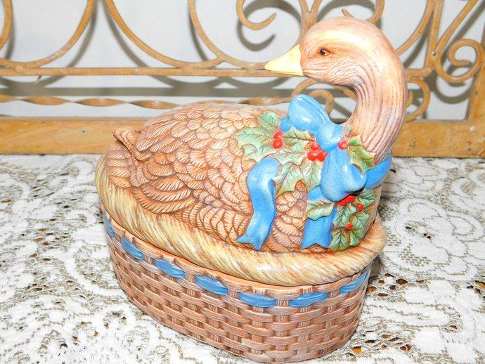 Ceramic Duck Bowl Vintage,Chalk ware, Box + Lid, Vintage Kitchen, Vintage