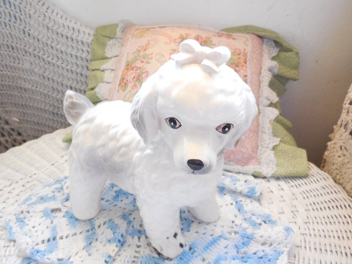 Dog, White Dog, Ceramic Dog, Dog Figurine, Dog Collectible, Dog, Country Decor,