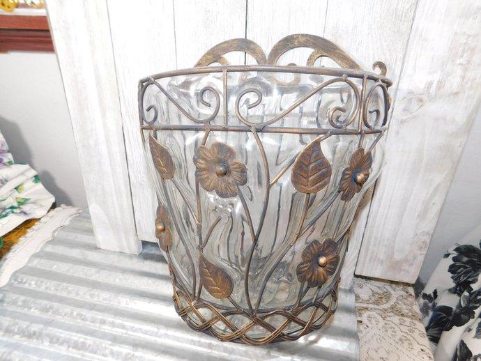 Vintage Metal and Glass Wall Planter # 2, Vintage Planter, Vintage Home Decor,