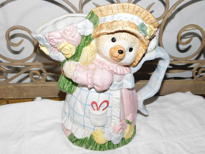 Fitz and Floyd Bear Pitcher with Flowers, Bear Pitcher, Bear, Vintage Kitchen,