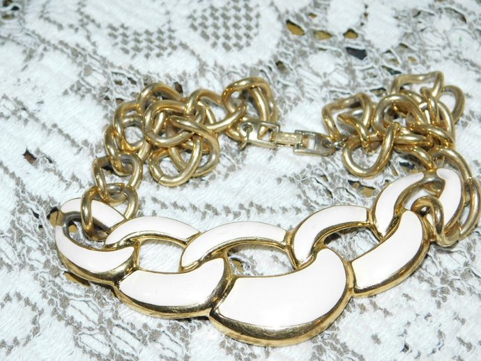 Napier Choker Enamel with Gold Like Chain, Vintage Choker, Vintage necklace,