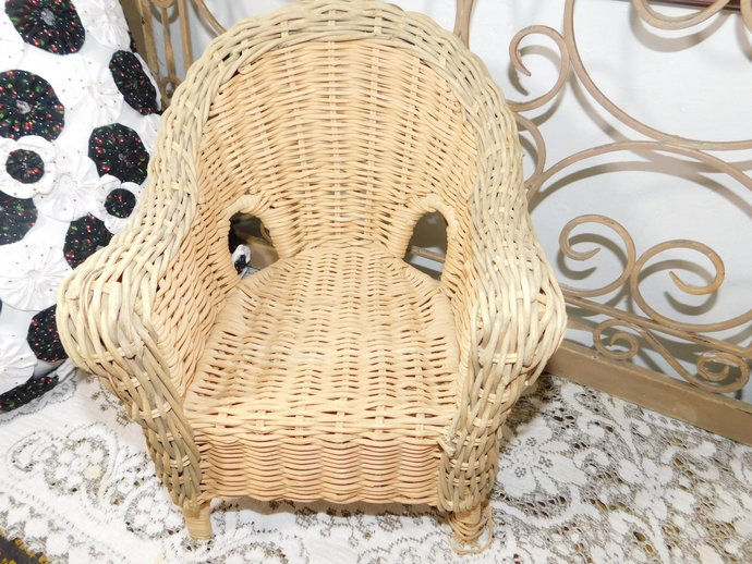 Wicker Doll Chair, Vintage Wicker Green and Natural Doll Wicker Chair, Doll