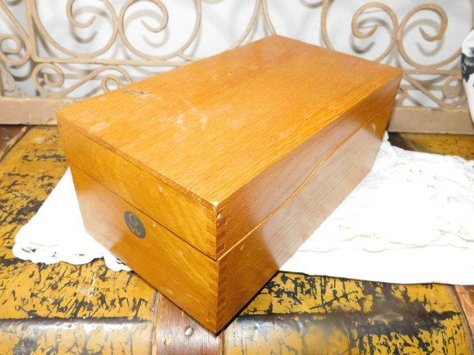 Globe Wernicke  File Box, Wooden Recipe Box , Dovetailed  box, Office Decor,