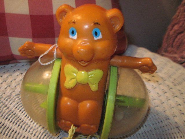 Fisher Price Rolling Bob Along Bear with String, Vintage Pull Toy, Vintage