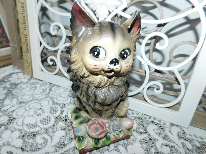 Kitten Figurine, Chalk Ware, Vintage Kitten Figurine Sitting on Stool and