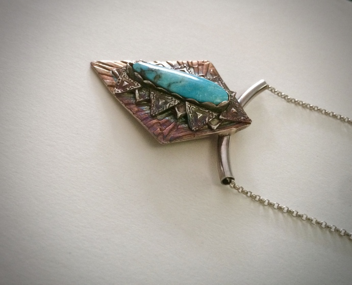 blue diamond turquoise talon, compass rose, art deco style, silver turquoise