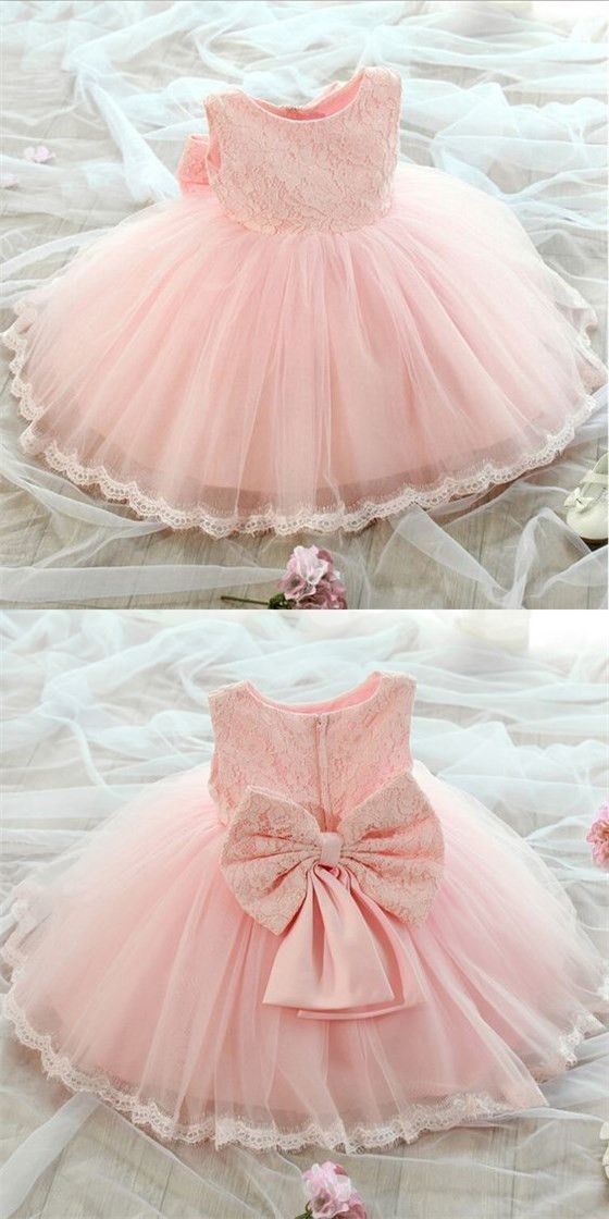 1cae9c96f Lovely Pink Scoop Neckline Zipper Up Lace Top Ball Gown For Flower Girl  Dresses