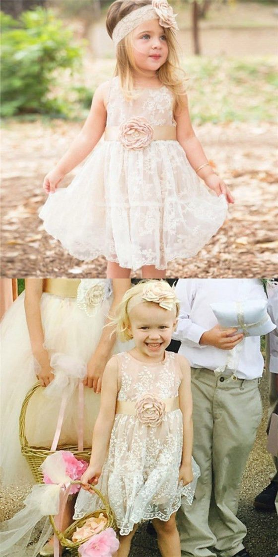 9ee9429adcdac Cute A-Line Round Neck Ivory Lace Flower Girl Dresses with Handmade Flower  And