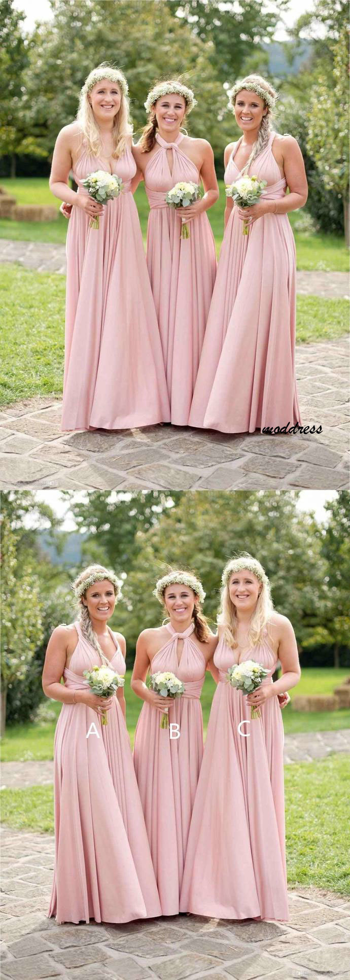 Mismatched Bridesmaid Dresses, Floor Length A Line Dresses BD612